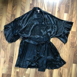 Victoria's Secret Black Satin Flounce Robe